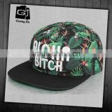 fashion floral print cap/ floral flat peak design your own snapback cap/6 panel flat peak hats