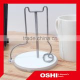 Original design innovative dog shaped stainless steel cup holder with ceramic pad, stainless steel drink cup holder, ceramic pad