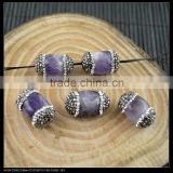 LFD-0045B Wholesale Druzy Amethyst Stone With Pave Rhinestone Crystal Connector Spacer Beads Jewelry Making