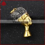 Egyptian queen head, antique gold color stainless steel pendant, metal charms in silver color with pave diamond