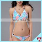 2015 new style hot thong bikini set colorful solid and printing high elasticity polyamide sexy bikini
