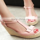 2015 fancy ladies sandal shoes ladies party shoes high heel with decoration wedge shoes super high heel