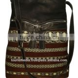 Wholesale handmade Moroccan kilim tote bags genuine leather handwoven kilim handbag ref09