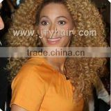 "Factory Wholesale Price 20"" Blonde Jerry Curl, Bleached Knot, Durable Peruvian hair Lace Front Wig"