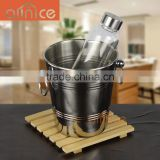 Wholesale double ear handle lines ice bucket cooler/stainless steel ice bucket/barware cooler pail