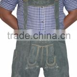 Gray LEATHER LEDERHOSEN German Oktoberfest SHORTS + SUSPENDERS Pants Trachten