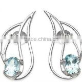 1.85ctw Genuine Blue Topaz Hearts .925 Sterling Silver Stud Earrings