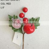 "2014 New Artificial Christmas Red Flower Pick 5"" Artificial Fruit Flower With Berries And Leaf"