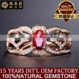 hot sale MBH jewellery newest luxury diamond gemstone ring 18k gold inlay natural red ruby ring women jewelry wholesale