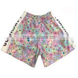 High fashion fancy printed girl's shorts with black satin trim