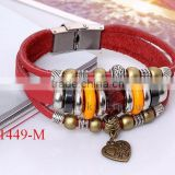 Fashion Jewelry heart charm big hole bead bracelet,plaim leather snap bronze charm bracelet