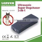 Battery powered portable ultrasonic dog trainer repeller chaser