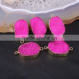 Rose Red Druzy Quartz Stone Connector Beads, Gold plated Crystal Drusy Gemstone Beads For Jewelry Making