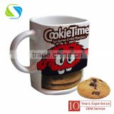 2016 hot factory new creative design christmas promotional custom logo full printed square ceramic cookie mug cup