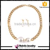 Fashion Imitation White Natural Freshwater pearl Jewelry Sets Rhinestone Ball Necklace Earrings Jewelry Sets for Women
