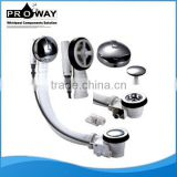 Bathtub Drainer With Small Zn alloy Plug, Brass Chromed Knob And Steam Limber Hole Handsfree Brass Pop Up Bath Drainer