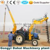 New type tractor drilling machine with crane well working on Cobblestone soil layer