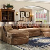 European Classic Wooden Frame With Velvet Fabric Corner Sofa/Brown Color Antique Living Room Sofa Furniture (MOQ=1 Set)