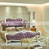 European Style King Size Bed, Elegant Purple Wood Carving Bed, Royal Bedroom Furniture Set (BF01-ML027)