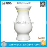 Classic Home Decor Ceramic Gold Rim Vase