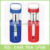 Blue & red sleeve Borosilicate Glass Water Bottle Sports Bottle 500ml with tea infuser