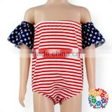 4th Of July Baby Clothes Romper Stripe And Star Flutter Sleeve Cotton Rompers One Piece Girl Jumpsuit