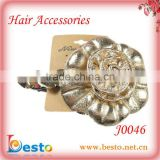 J0046 Indian design decorative handmade ladies leather flower hair clip