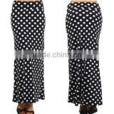 MOST POPULAR WHOLESALE CHEAP BULK LONG SKIRTS HIGH WAIST STRETCH JERSEY KNIT FLARED BLACK AND WHITE POLKA DOT MAXI SKIRTS