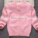latest custom child girls balls pink pearl buttons cardigan sweater