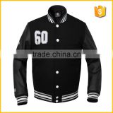 Bomber Silk Quilted Wool Body Leather Sleeves cheap Wholesale Black Baseball Jacket Custom Varsity Jackets Australia Canda