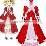 Sunshine-Black Butler Kuroshitsuji Elizabeth Midford Liz Red Lolita Long Dress Anime Cosplay Costume