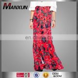 Hotsale Alibaba Wholesale Online Women's Wear Thigh High Front Sexy Split Maxi Red Print Skirt