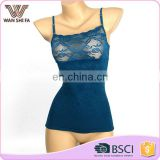Wholesale sexy dark blue lace design comfortable seamless camisole top