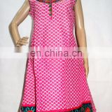 Cotton Summer Designer Neck Embroidery Block Print Kurta Kurti Tunic