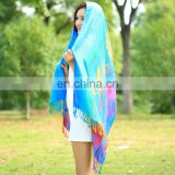 Cheap Minority style spring summer rainbow cotton scarf tassel air conditioning pashmina warm shawl
