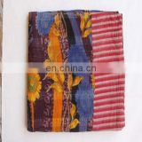Vintage Throw Kantha Quilt Indian Handmade Cotton Bedspread Reversible Bedding D