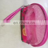fashion colorful decorative plastic gridding package bag pvc plastic cheap cosmetic bag with nylon zippet