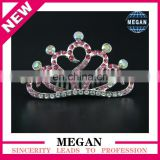 High Quality Colored Rhinestone Tiaras Heart Rhinestone Crown Comb