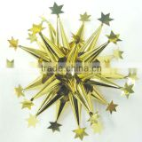 Attractive Gold PET Laba Fancy Ribbon Bow Flowers with Stars for Wrapping gifts or decorative Christmas tree
