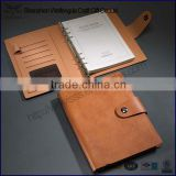 Custom a5 italian PU leather 6 ring binder planner with snap clasp                                                                         Quality Choice