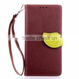 Black / Brown Leave shape flip cover leather case with straps for Smart phone protective case for Sony Xperia Z2 Z3 Z4