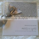 Glitters crystal silver glitter paper with silver ribbon bow fold wedding invitations card
