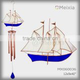 MX060036 wholesale wind chime with tiffany style stained glass boat craft decoration top and metal wind chime pipe