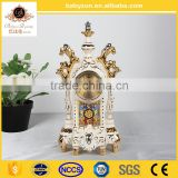 "2016 OEM charming anyique ingenious luxury ivory 16""ceramic art quartz clock with gold"