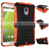 Shockproof dual layers rubberized protective phone cover for Motorola Moto X3 smart back skin shell
