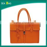 2016 Orange color classical leather women bag tote handbag Guangzhou factory