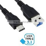 USB Type C to Standard Type A Male Charging Cable for New MacBook, Chromebook Pixel, Nexus 5X, Nexus 6P, Pixel C, OnePlus Black