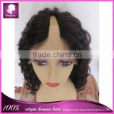 2014 Hot selling wavy human hair wig for black women, human hair u part wig