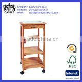 Square top wood kitchen trolley/cart/island with mid shelves