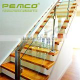 Hairline Finish 304 316 indoor & outdoor glass stainless clear retractable steel flat bar stair handrail